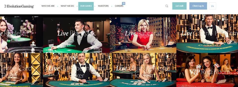 Evolution live casinospel