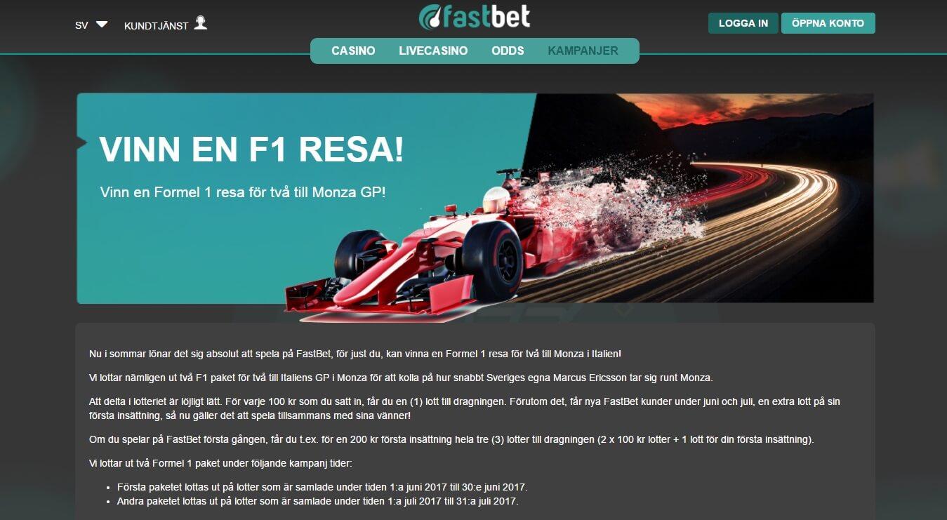 Fastbet F1 kampanj
