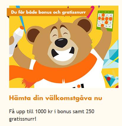 Bertil 1000 kronor välkomstbonus