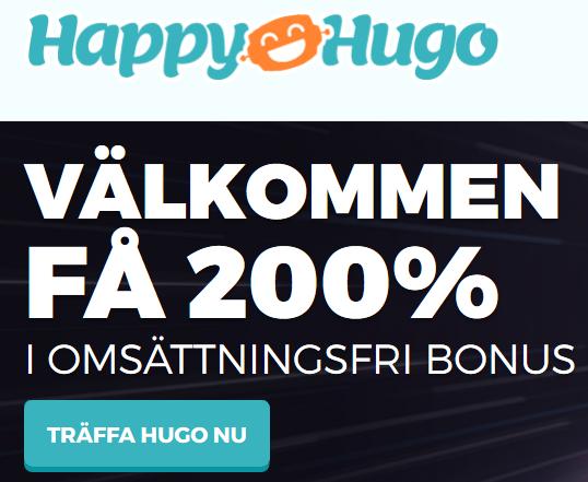 30% bonus omsättningsfri HappyHugo