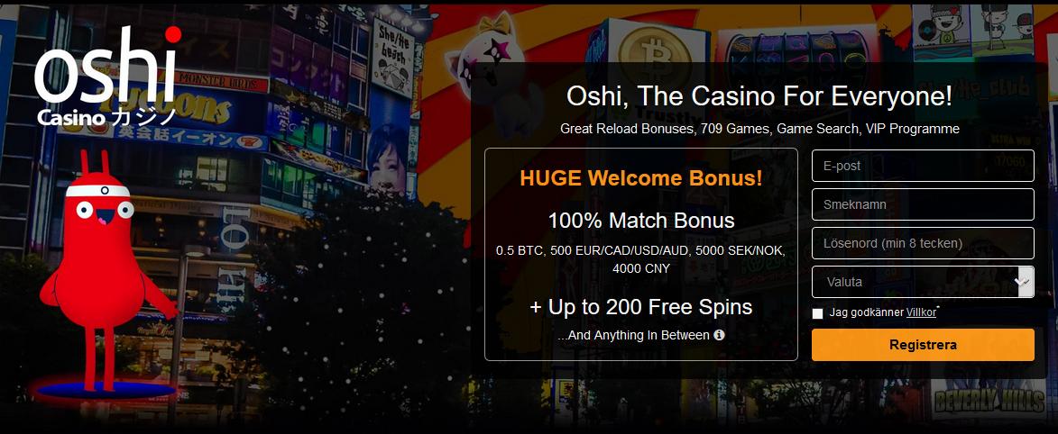 Oshi Välkomstbonus och 200 freespins