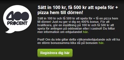Comeone 3000 kronor bonus plus en pizza hem till dörren