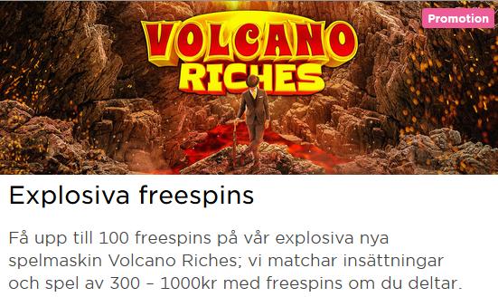 MrGreen Explosiva Freespins Volcano Riches