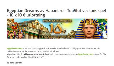 Lapalingo Egyptian Dreams av Habanero - TopSlot veckans spel - 10 x 10 € utlottning