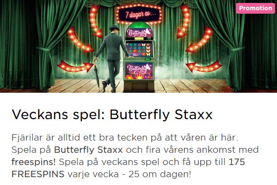 MrGreen Veckans spel Butterfly Staxx 175 freespins