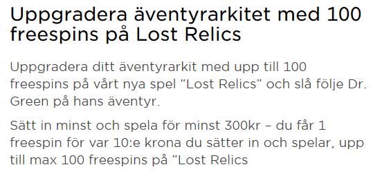 MrGreen få hela 100 freespins på Lost Relics!