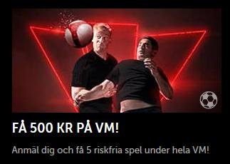 Betsafe nätcasino Få 500 kr på Fotbolls-VM varje vecka!