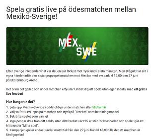 Unibet nätcasino Spela gratis live på ödesmatchen mellan Mexiko-Sverige!