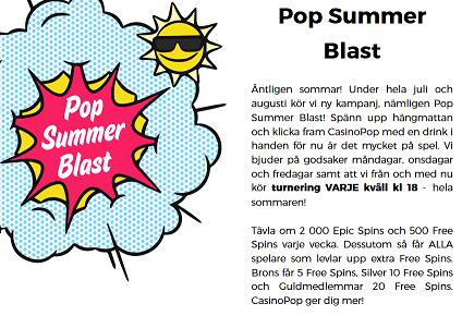 Casinopop nätcasino Pop Summer Blast 2000 Epic Spins och 500 Free spins varje vecka