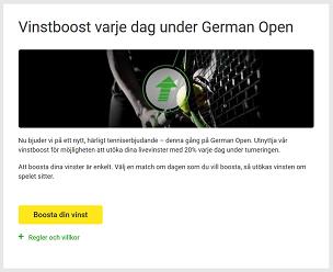 Nätcasino Unibet Vinstboost varje dag under German Open