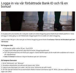 Nätcasino Unibet Logga in via vår förbättrade Bank-ID och få en bonus!