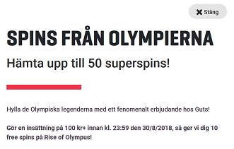 Nätcasino Guts - FREESPINS FRÅN OLYMPIERNA!