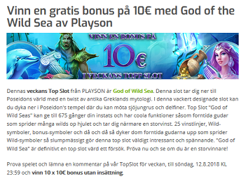 Nätcasino Lapalingo Vinn en gratis bonus på 10€ med God of the Wild Sea av Playson