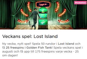 MrGreen Nätcasino Få 175 Freespins på Veckans Spel Lost Island
