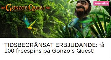 Nätcasino MrGreen få 100 freespins på Gonzo's Quest!
