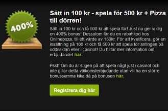 Nätcasino ComeOn! - Sätt in 100 kr - spela för 500 kr + Pizza till dörren!