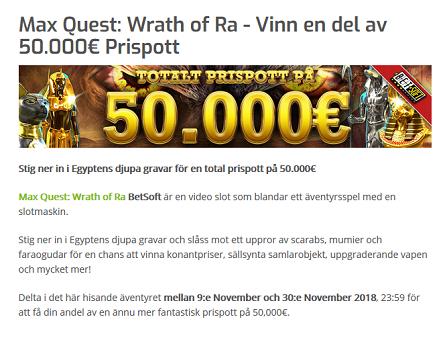 Nätcasino Lapalingo - Max Quest: Wrath of Ra - Vinn en del av 50.000€ Prispott!