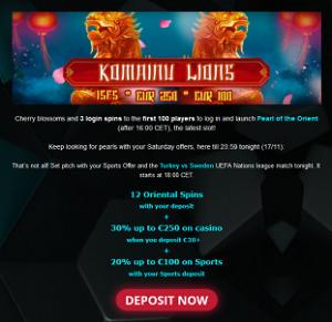 Nätcasino b-Bets Komainu Lions Freespins Bonuspengar!