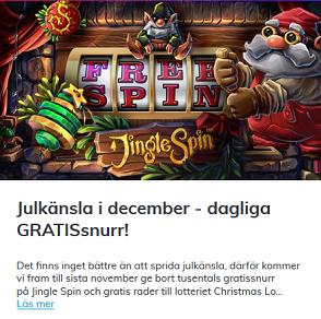 Nätcasino Multilotto - Öppna casino julklappar i julkalendern varje på spelsidan!
