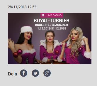 Vinn din del av 18500 € i Royal Turnier på Vbet!