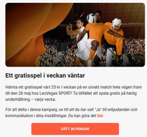 Hämta ett 25 kr gratisspel på fotboll på nätcasino LeoVegas!