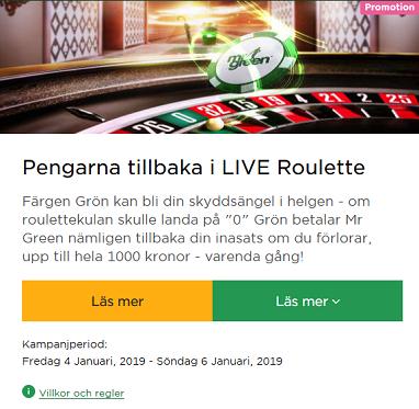 1000 kr tillbaka på Roulette på mrGreen