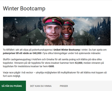 40 000 € pokerpriser Winter Bootcamp på Unibet!