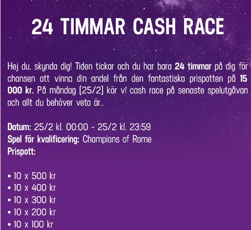 Tävla om 15 000 kr i 24 timmar cash race på LuckyCasino!