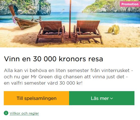 Vinn ett resepresentkort värt 30 000 kr på Mr Green!