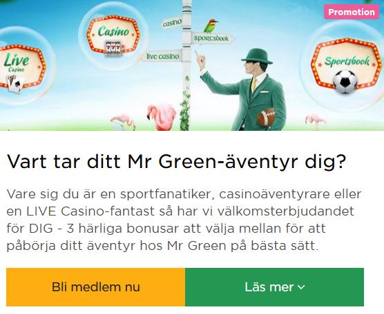 Bli medlem nu på Mr Green och börja tävla om 1000+ freespins!