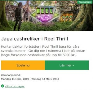 Vinn upp till 5000 kr cash i Reel Thrill hos Mr Green!