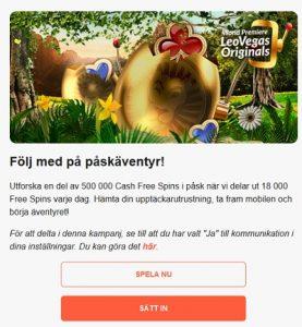 Vinn din andel av 500 000 freespins på LeoVegas!