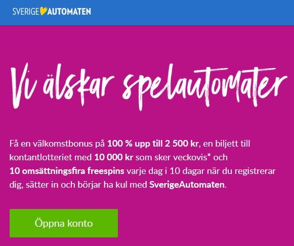 Öppna konto nu på Sverigeautomaten så kan du vinna 250 000 kr med ett snurr!