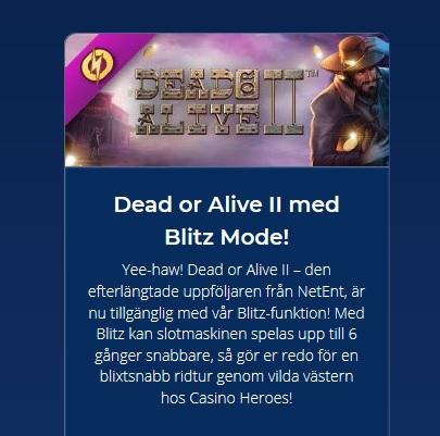 Spela Dead or Alive II i Blitz Mode på Casino Heroes!