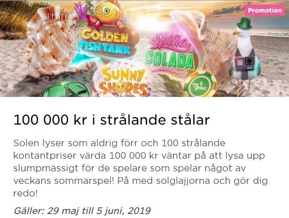 Kampanjen 100 000 kr i strålande stålar på Mr Green!
