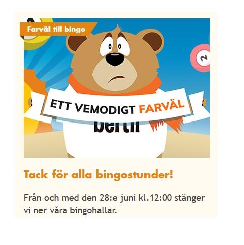Spela bingospel idag på Bertil - borta imorgon!