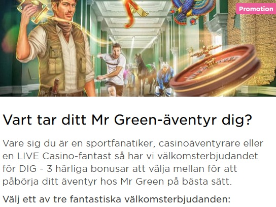 Klicka här så spelar du snart The One Armed Bandit hos Mr Green!