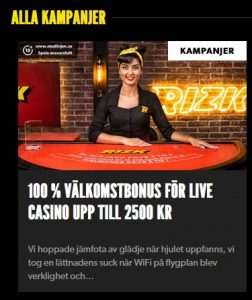 Hämta Rizk nya 100 % live casino bonus!