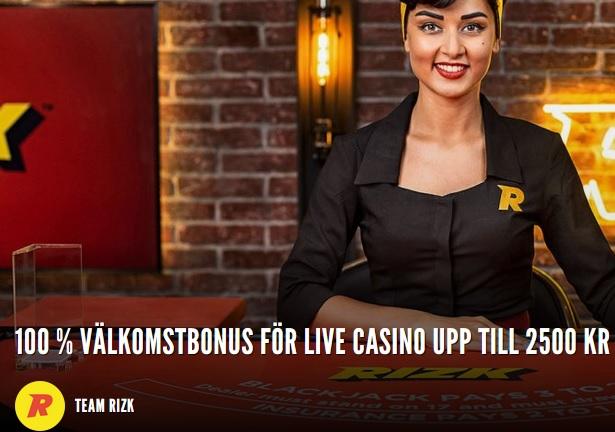 Klicka här för att hämta din 100 % live casino bonus upp till 2500 kr hos Rizk