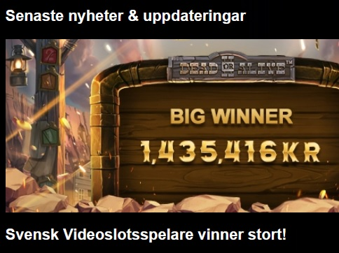 Svensk storvinnare på Videoslots!