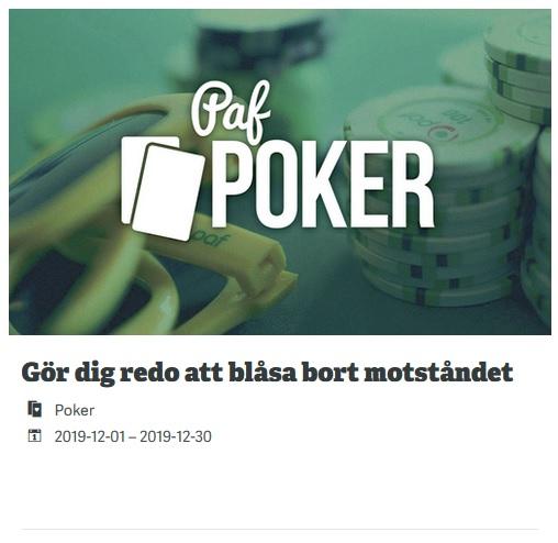 Spela poker 50 000 € Blowout på Paf Casino!