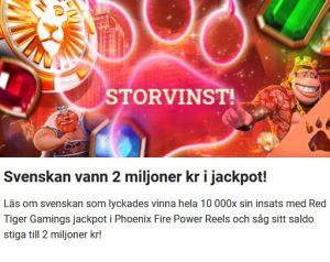 Svenskan vann 2 miljoner kr i jackpott hos LeoVegas!