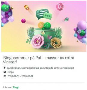Njut av Bingosommar exklusivt på Paf Casino!